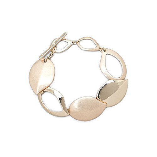 Matte Gold Bracelet - Kenneth Cole New York Textured Metals Gold Leaf Flex Link Bracelet
