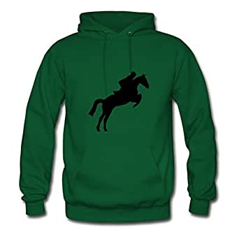Women Horse Jumping Designed Green Customized Deepheather X-large Sweatshirts