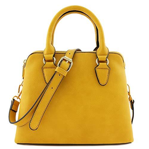 Classic Double Zip Top Handle Satchel Bag Mustard