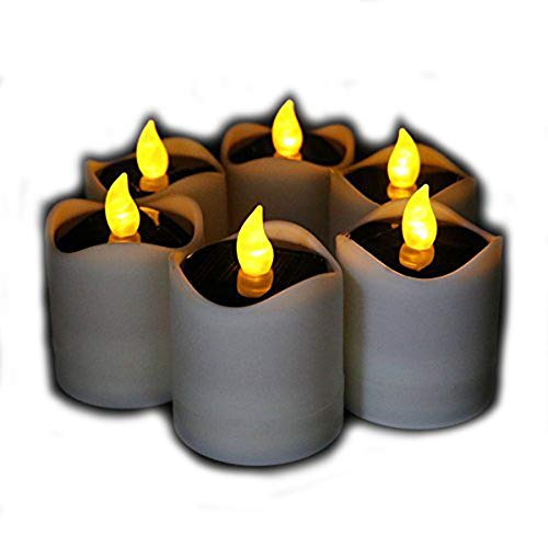 Top Dia Glass (6 Pcs Solar LED Candles Waterproof Romantic Electronic Tealight Solar Candles Fake Candles Solar Emergency Night Light for Camping Traveling Outdoor Home Party Decoration (Amber-yellow Flickering))