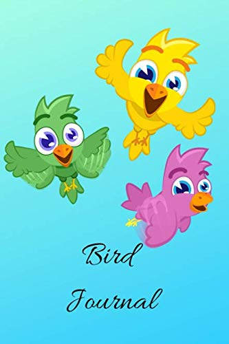 Bird Journal: A Flying Green, Yellow And Purple Cartoon Themed Bird Watching Logbook, Notebook, Journal, Diary And Guide Perfect For Birders And Birdwatchers, Great For Kids