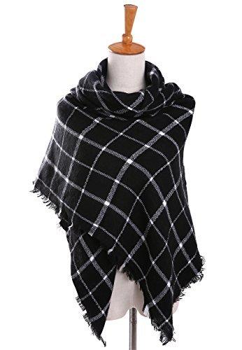 18ccd4864 Women's Oversized Plaid Blanket Scarf Checked Warm Tartan Pashmina Wrap  Shawl (Black)