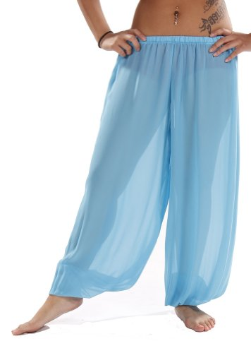Belly Dance Costumes Harem Pants (Belly Dance Chiffon Harem Pants | Sheer Shadow - Turquoise)