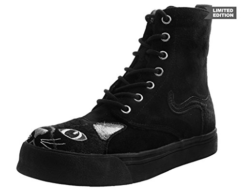 T.U.K. Shoes A9345L Womens Boots, Black Faux Suede Embroidered Kitty Sneaker Boot - US: Women 10