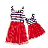 Mommy&Me Women's Child Girl's 4Th of July Sleeveless Stars Printing Parent-Child Dresses Star Vest Stitching Dress