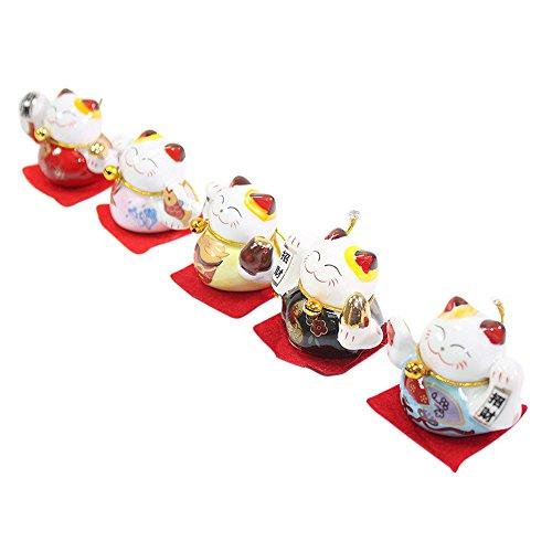 Set of 5 Japanese Maneki Neko Lucky Cat Figurines Cute Smiley Waving Upright Lucky Fortune Cat US Seller