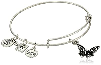 """Alex and Ani """"Charity by Design"""" Expandable Wire Bangle Bracelet with Butterfly Charm, 7.75"""""""