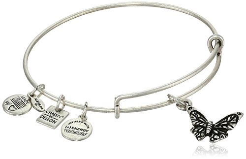 Alex and Ani Charity by Design Rafaelian Silver-Tone Expandable Wire Bangle Bracelet with Butterfly Charm, 7.75'' by Alex and Ani (Image #1)