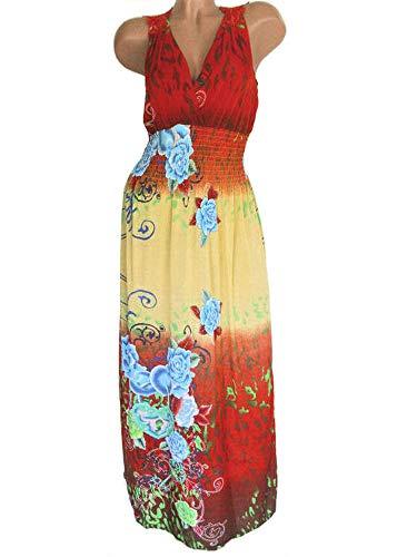 Edles Viskose AM Kleid A1121 Gelb 65 Lang Sommerkleid 35 Damen Rot Rückenbereich Spitzeneinsatz Seide im DA rq5C8rwZO