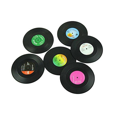 SAGUARO Retro Vinyl Record Beverage Silikon Untersetzer Set von 6 Verhindern Glatte