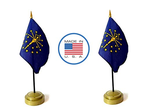 - Made in The USA Flag Set. 2 Indiana Rayon 4