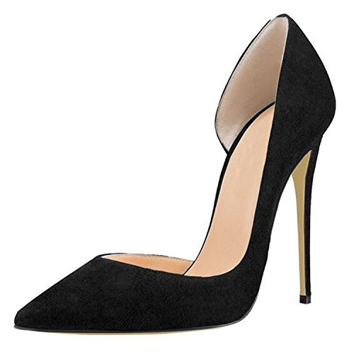 Lovirs Womens Pointed Toe Sexy High Heel Slip On Stiletto Pumps Wedding Party Plus Size Shoes Black Suede V7TAr