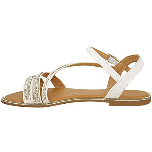 Plano Mujer Diamante Sandalias de verano De Tiras Playa Zapatos De Gladiador Tamaño RU Blanco Piel Sintética/pedrería