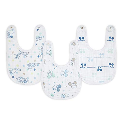 aden by aden + Anais Disney Snap Bib, 100% Cotton Muslin, Soft Absorbent 3 Layers, Adjustable, 9