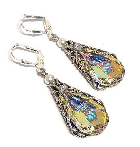 HisJewelsCreations Teardrop Crystal Vintage Leverback Inspired Earrings with Crystal from Swarovski