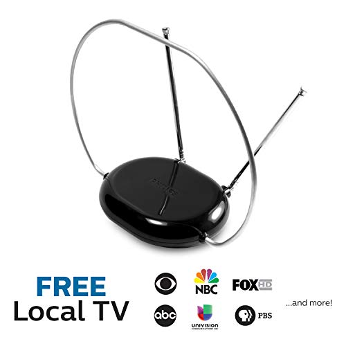 Philips Rabbit Ears Black Indoor TV Antenna, Dipoles and Circular Loop, Tabletop Antenna, Digital, Smart TV Compatible, HDTV Antenna, 4K 1080P VHF UHF, 5Ft Coaxial Cable, SDV8201B/27
