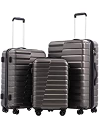 Luggage Expandable Suitcase PC+ABS 3 Piece Set with TSA Lock Spinner Carry on new fashion design (gray, 3 piece set)