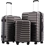 COOLIFE Luggage Expandable Suitcase PC+ABS 3 Piece Set with TSA Lock Spinner Carry on new fashion design gray 3 piece set