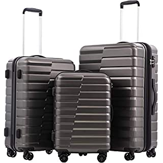 COOLIFE Luggage Expandable(only 28'') Suitcase PC ABS TSA Lock Spinner Carry on new fashion design (gray, 3 piece set)