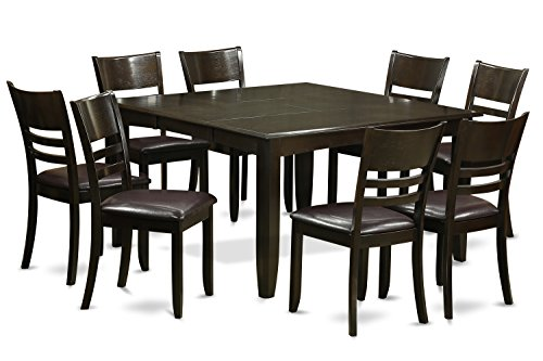 PFLY9-CAP-LC 9 Pc Dining room set-Dinette Table with Leaf and 8 Kitchen Chairs. (Piece Nine Dining Room Set)
