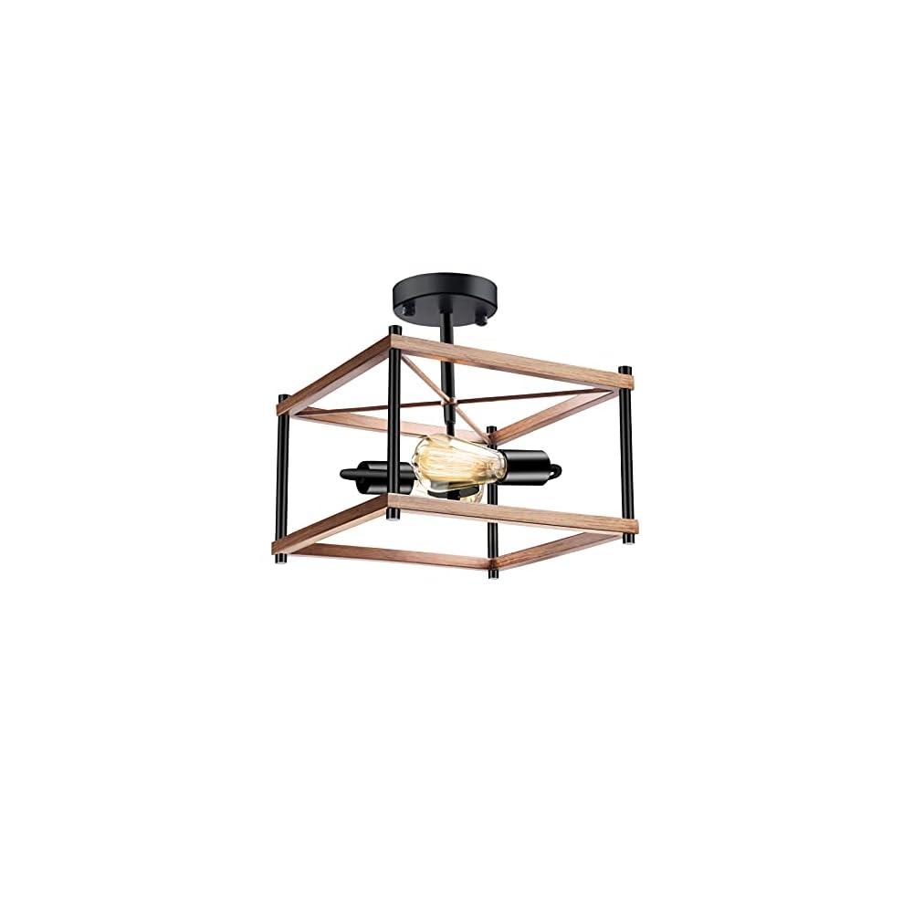 2-Light Semi Flush Mount Ceiling Light Fixture, Farmhouse Ceiling Light Black Matt & Wooden Metal, Rustic Industrial…
