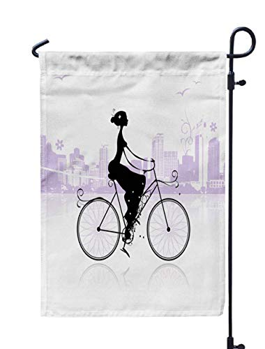 Shorping Decorative Outdoor Garden Flag, 12x18Inch Girl Cycling in The City for Holiday and Seasonal Double-Sided Printing Yards Flags