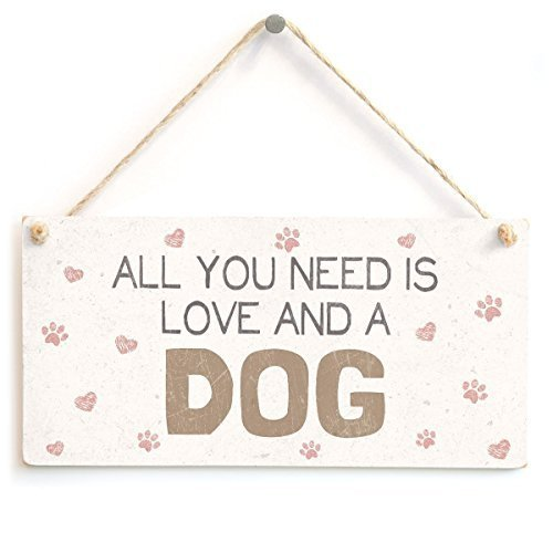 ZSLM Wood Sign 5x10 inches All You Need is Love and Dogs - Lovely Home Accessory Gift Sign for Dog Owners
