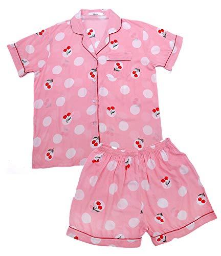 - Women's Pajamas Set Leopard Striped Flower Love Cat Ladies Sleepwear Sets Short Sleeve Girls Pajamas Loungewear Nightgown (Pink Cherry, M)