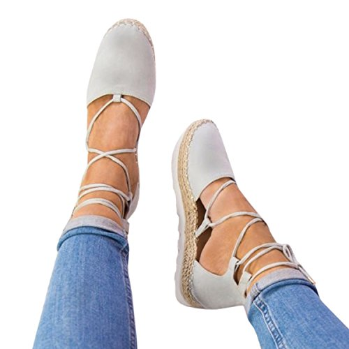Womens Lace Up Ankle Straps Crisscross Espadrilles Ballet Flatform Closed Toe Cut Out Summer Sandals