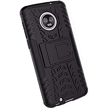 Yuanhuiheng Moto G6 Case, Rugged and Shockproof Case Double Armor Combination Cover, use PC+TPU Material Built-in Bracket Compatible Moto G6(Black)