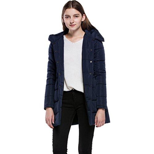 Giacche Cappotti Lunga Blu Di Manica Allentati Solido Donna Navy Inverno Lungo Con Dooxi Cappuccio Colore q1OYvt1