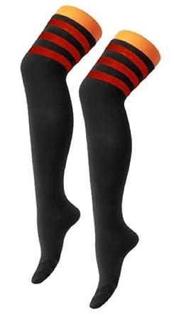 68bfbd3de37 Women s Ladies Referee Stripe Over The Knee High Socks Cotton Sport  Celebrity Inspired Fancy Dress (