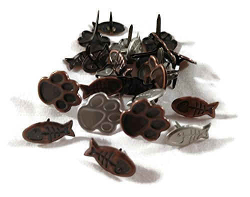 Cat Pet Brads - Paw and Fish Shapes - Antique Copper and ()