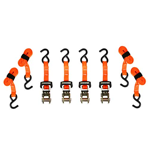 SmartStraps 10-Foot Ratchet Straps (4pk) - 3,000 lbs Break Strength - 1,000 lbs Safe Work Load Haul Heavier Loads Like Motorcycles, Boats and Large Appliances - Heavy-Duty Padded Tie-Downs