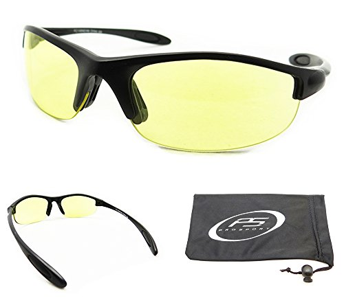 Yellow Lens Sunglasses for Cycling, Running, Shooting, Hunting, Motorcycle Riding and Driving. Impact Resistant Polycarbonate Lenses. Fits Extra Small to Medium Head Sizes. Asian Fit. Free Microfiber Cleaning Case included - For Heads Small Glasses