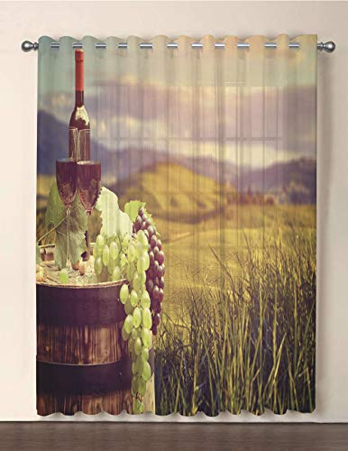 One Panel Extra Wide Sheer Voile Patio Door Curtain,Wine,Italy Tuscany Landscape Rural Vineyard Autumn Harvest Grapes Drink Viticulture Decorative,Green Black Brown,for Sliding Doors(108