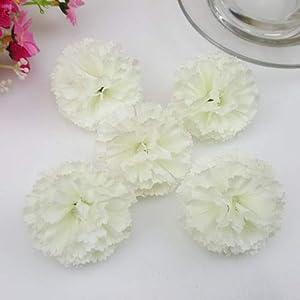 FidgetFidget Artificial Silk Flowers Carnation Heads Party Wedding Home Garden Decor 50X 100X Milk White 100pcs 106