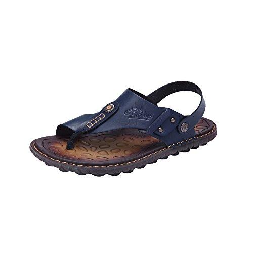 Ankle Toe With Leather Flip Strap Open Flops amp;W Sandals Mens H Blue qtxz4Rz8
