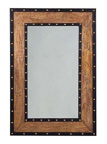 Wood Trim Designs - Ashley Furniture Signature Design - Dulcina Accent Mirror - Burnt Wood, Matte Black, Antique Gold Rivets