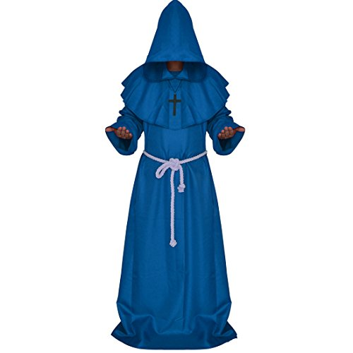 [Ainiel Men's Adult Monk Robe Cosplay Costume (L, Blue)] (L Themed Costumes)
