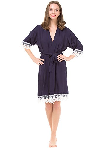 Mr&Mrs Right Women's Cotton Robe for bride and Bridesmaid with Lace Trim, Navy Blue, Small / 4-8