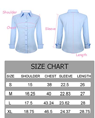 YCOOL Womens Button Down Shirts Long Sleeve Regular Fit Cotton Casual Blouse Top Blue L by YCOOL (Image #5)