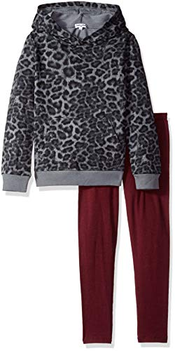 (Splendid Little Girls' Kids and Baby Long Sleeve Sweatshirt and Bottom 2 Piece Set, Leopard, 6X)