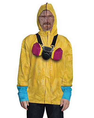 Faux Real Men's Breaking Bad-Walter White Full Zip Up Mask Hoodie, Multi, Medium -