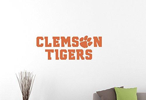 College Football Clemson Tigers Logo Wall Sticker NCAA Team Sign Vinyl Decal Extreme Sports Emblem Home Interior Decorations Art Locker Room Decor 2ct (40