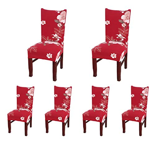 SoulFeel Set of 6 Dining Chair Covers, Stretch Spandex Dining Room Protector Slipcovers (Style 49, Red)