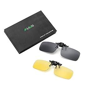 AUUS Clip on Flip Up Polarized Sunglasses (2-pack) Anti-Blue Ray Glare Eyeglass Frameless Rectangle lens UV400 for Driving