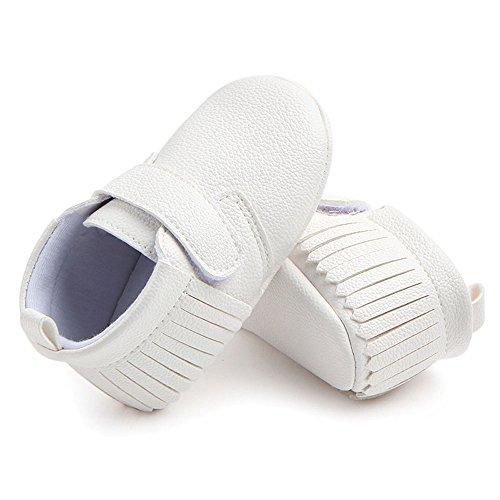 Antheron Infant Moccasins - Unisex Baby Girls Boys Tassels Soft Sole Toddler First Walker Newborn Crib Shoes(White,0-6 Months) - Image 6
