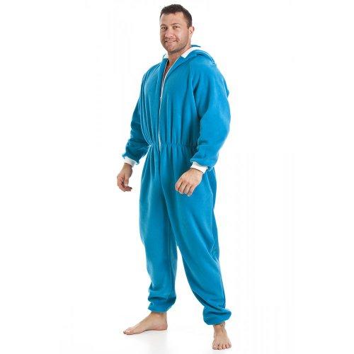 Camille Mens Blue All In One Fleece Hooded Pocketed Pyjama Onesie XXXL BLUE