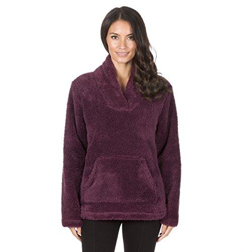 Forever Dreaming Ladies Shawl Collar Bed Jacket - Snuggle Fleece Pajama Top Lounge Jumper Burg S Burgundy (Forever 21 Shawl Collar Coat)
